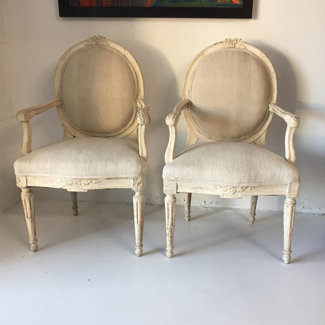 Swedish Antique White Arm Chairs - a Pair For Sale - Image 12 of 12