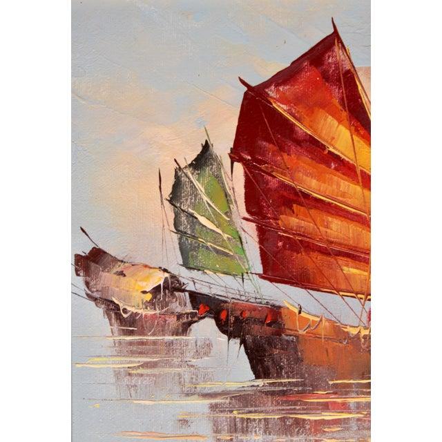 Nautical Vintage Coastal Nautical Sailboat Oil Painting For Sale - Image 3 of 11