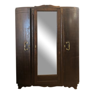 1930s Traditional Wooden Armoire For Sale