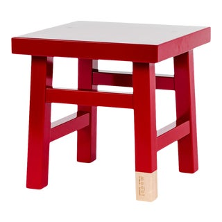 Mooooi Red Lacquered Solid Birch Farmer Side Table For Sale
