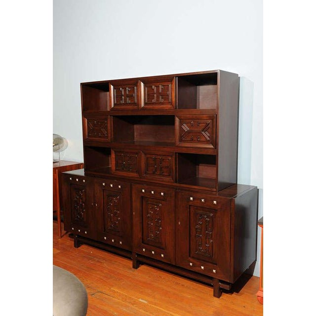 Impressive Edmond Spence design buffet incorporating machine age and Mexican motif. Solid mahogany with fitted interiors,...