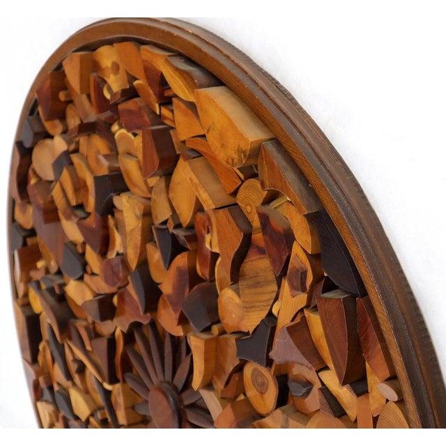 Round Wooden Wall Plaque Sculpture Sunburst For Sale - Image 4 of 8
