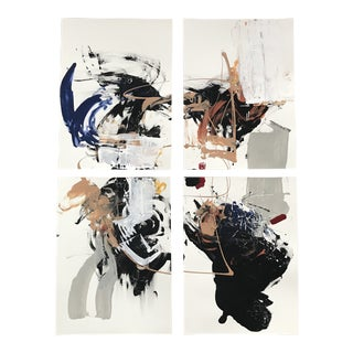 Collision Abstract Paintings - Set of 4 For Sale