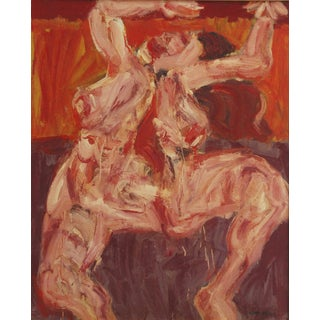 1960s Vintage Julio Martin Caro Soto Red Nude Painting For Sale