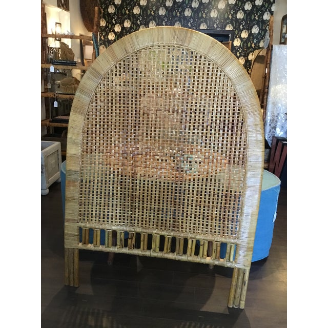 Sweetest wicker and bamboo twin sized headboard. Can be used either way with the checker board woven center flush with the...