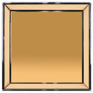 Italian Mirror by Sandro Petti Black Lacquered Brass Mirrored, 1970s For Sale