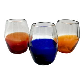 Dipped Blown Rocks Glasses - Set of 3 For Sale