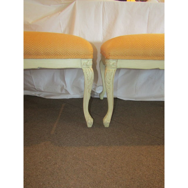 White Carved Wood Benches - A Pair - Image 3 of 6