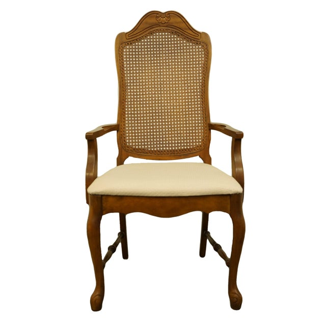Late 20th Century Vintage Bernhardt Furniture French Provincial Cane Back Dining Arm Chair For Sale - Image 11 of 11