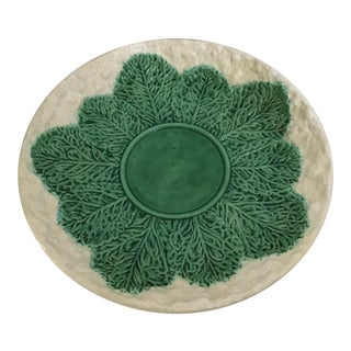 Bordallo Pinheiro Majolica Cabbage Leaf Serving Plate For Sale