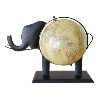 Vintage Safari Elephant Black Metal Globe For Sale