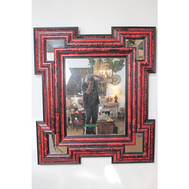 Baroque Large Scale Pair of Exceptional Dutch Baroque-Style Red Tortoise Mirrors For Sale - Image 3 of 13