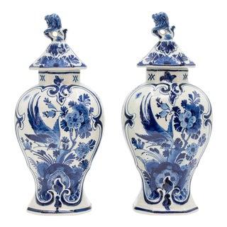 Antique Dutch Delft Birds Floral Lidded Vases - a Pair For Sale