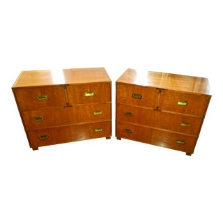 Baker Furniture Campaign Chests - a Pair For Sale