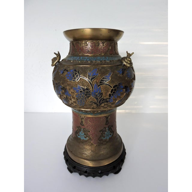 Antique Champleve Japanese Cloisonn Vase With Three Snails Chairish