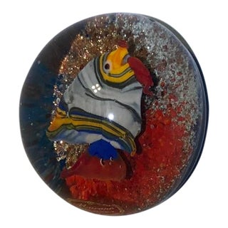 Murano Art Glass Fish Paper Weight For Sale