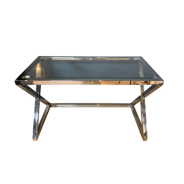 Worlds Away Polished Stainless Steel Console/Desk For Sale - Image 4 of 4