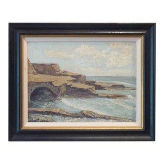 Signed Seashore Oil Painting For Sale