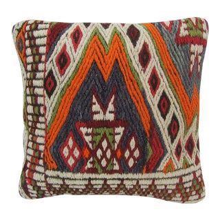 Embroidered Kilim Pillow For Sale