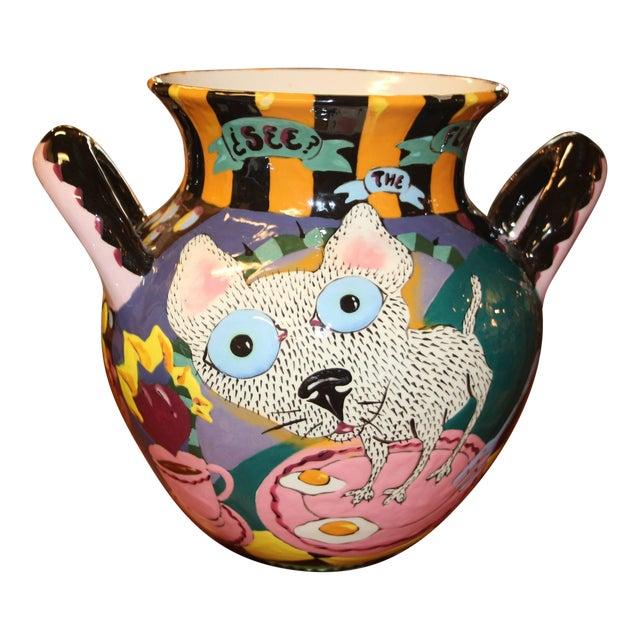 Whimsical David Gurney Glazed Vessel For Sale
