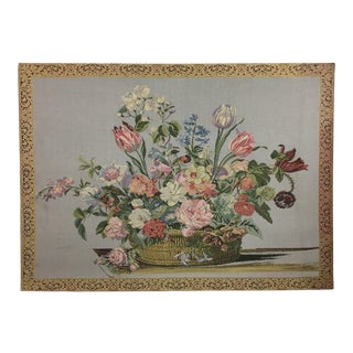 Vintage English Handmade Floral Still Life Tapestry For Sale