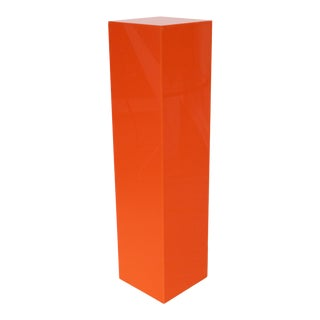 1970s Modernist Tall Orange Lucite or Acrylic Pedestal Stand Display Column For Sale