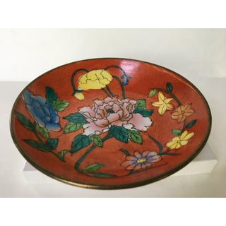 Vintage Chinese Brass Encased Hand Painted Floral Bowl / Catchall Preview