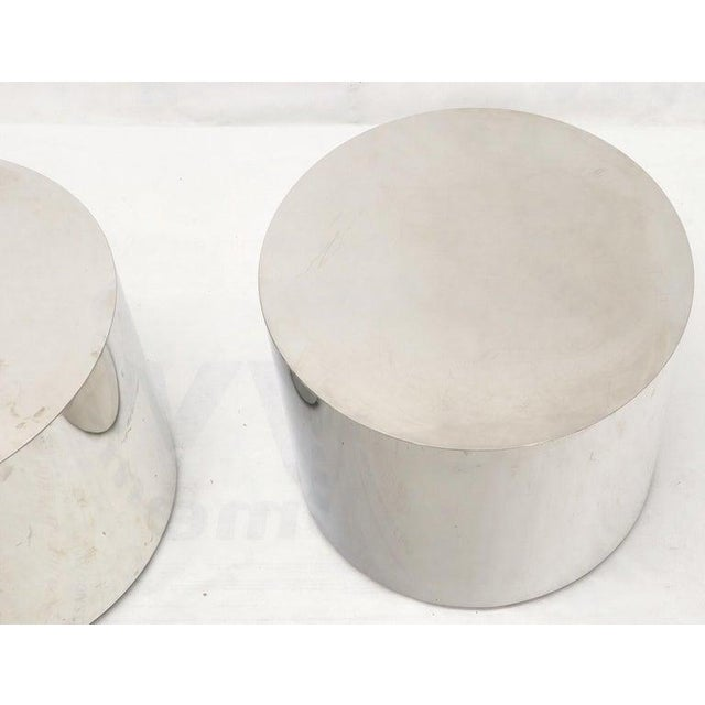 Silver Pair of Chrome Cylinder Side End Tables or Wide Pedestals For Sale - Image 8 of 10