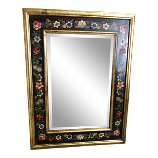 Antique Italian Hand Painted Mirror For Sale