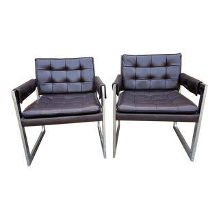 Mid Century Milo Baughman for Thayer Coggin Style Chrome Flat Bar and Tufted Chairs - Pair For Sale