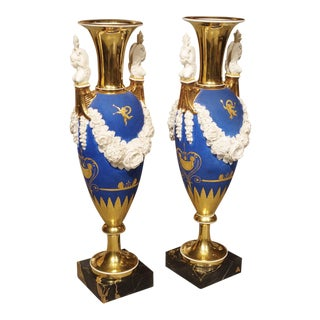 Pair of Neoclassical Paris Porcelain Vases in Royal French Blue, Early 1800's For Sale