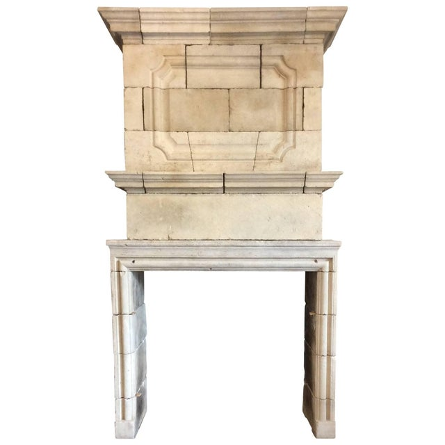 Mid 20th Century Louis XIV Limestone Mantel with Double Trumeau For Sale - Image 5 of 5