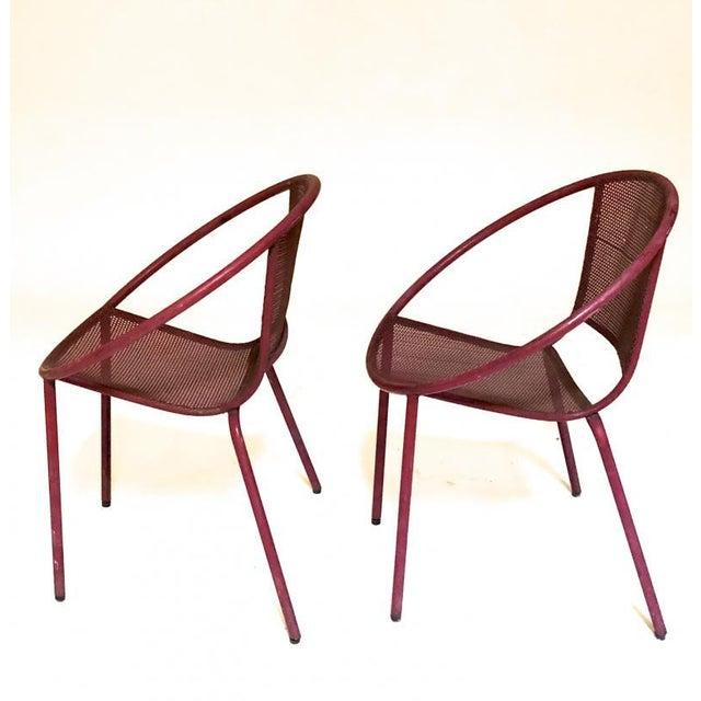 Mathieu Matégot Mathieu Mategot Style Charming Pair of Outdoor Chairs in Vintage Condition For Sale - Image 4 of 6