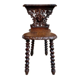 19th Century French Carved Oak Black Forest Hunt Dog Side Chair For Sale