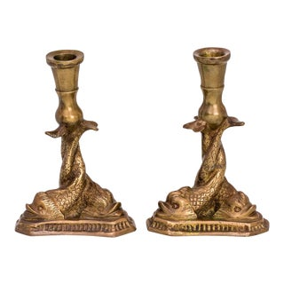 Candlesticks, Bronze Dolphin, Pair For Sale
