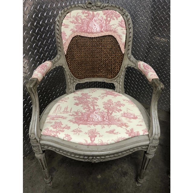 19th Century French Louis XV Caned Toile Parlor Suite - 5 Pc. Set For Sale - Image 4 of 5