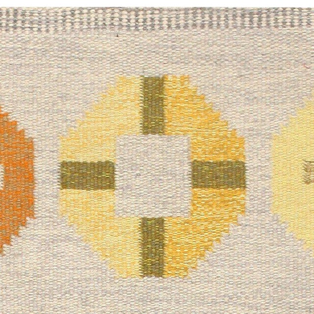 Folk Art Vintage Swedish Kilim Rug by Barbro Spinchorn - 5′2″ × 8′ For Sale - Image 3 of 7