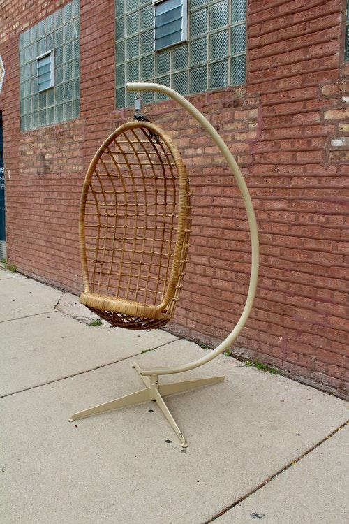 Vintage Boho Hanging Wicker Egg Chair   Image 2 Of 6