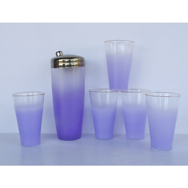 West Virginia Glass Frosted Cocktail Set - Image 7 of 8