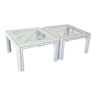 1980s Chippendale Square Glass Topped Coffee Tables - a Pair For Sale