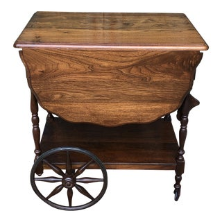 Antique Wood Tea Cart or Bar Cart with Wheels For Sale