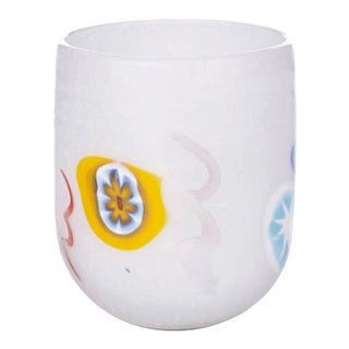 LagunaB Baby White Handmade Murano Glass Tumbler For Sale