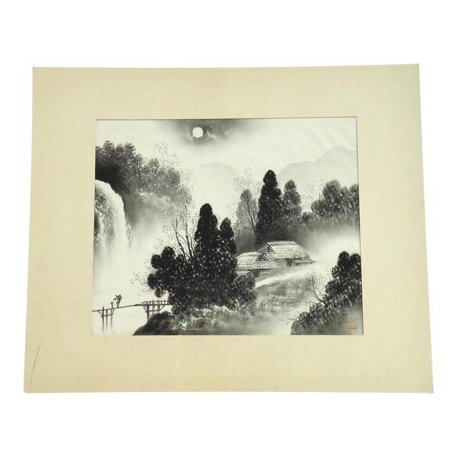 Vintage Japanese Night Landscape Painting on Silk For Sale