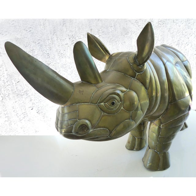 1960s Sergio Bustamante Brass Rhino Sculpture for SerMel For Sale - Image 5 of 13