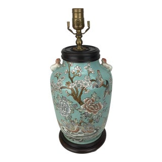 1970s Chinoiserie Turquoise Cherry Blossom Vase Lamp For Sale