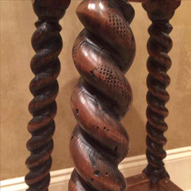 Custom Walnut Barley Twist Bar Stool - Image 6 of 11
