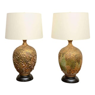 Volcanic Glazed Ceramic Table Lamps - a Pair For Sale