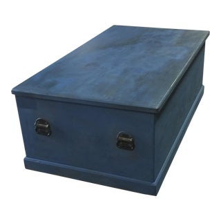 Vintage Blue Extra Large Blanket Chest For Sale