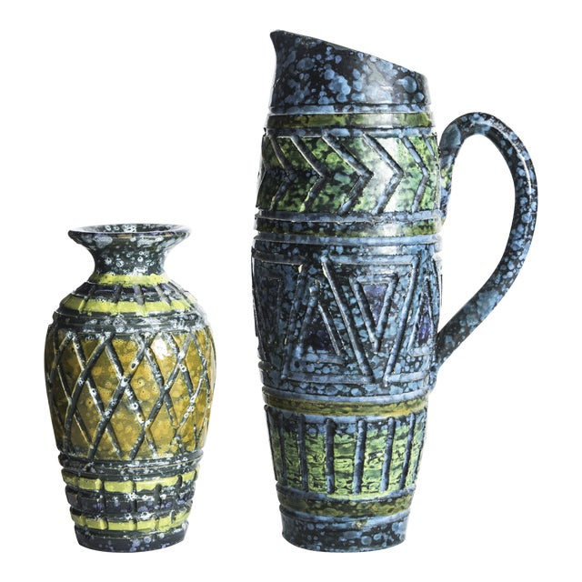 Blue & Yellow Incised Pottery Vases - a Pair - Image 1 of 5