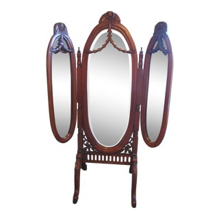 1920s Style Tri-Fold Cheval Mirror For Sale